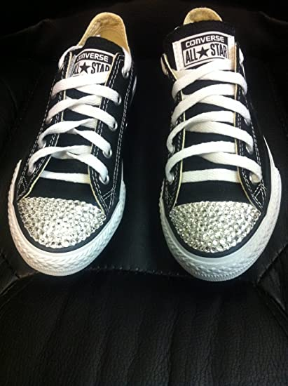 Amazon.com   Crystallized Converse Shoes Adult Size Crystals Custom Made- Converse  Shoes-Sneakers-Size-8 Bling Converse Shoes 5dc445390