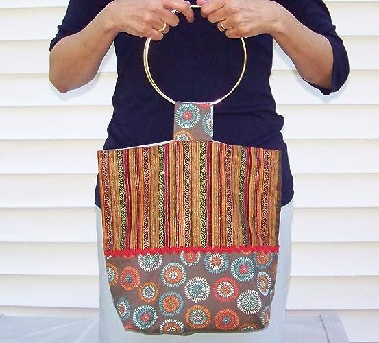 4d95134258 Amazon.com: Metal Handle/Hoop Reversible Shoulder Bag: Handmade