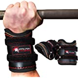 Leather Weight Lifting Wrist Wraps Support for Men and Women - Heavy Duty Padded Braces with Velcro Loop Straps for Powerlifting Weightlifting Bodybuilding Crossfit & Olympic Workout Gym WOD Training