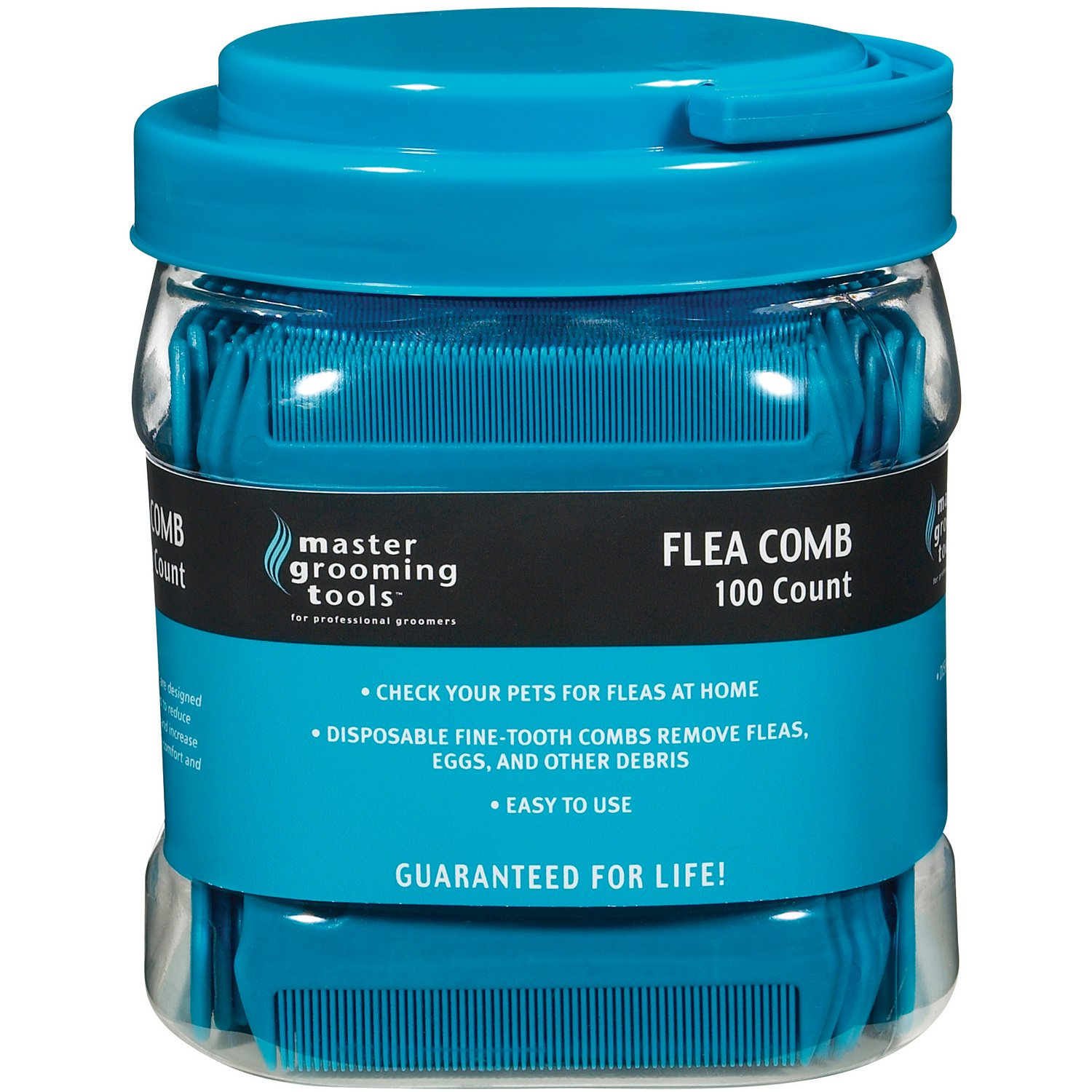Master Grooming Tools Flea Comb Canisters - Effective Flea Combs for Grooming Dogs, 100-Count Canister