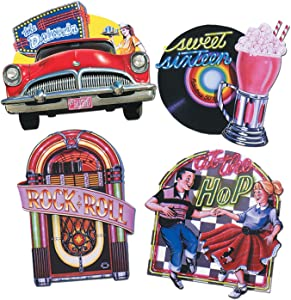 Beistle Fabulous 50's Signs 4 Piece Rock & Roll Wall Decorations, Sock Hop Party Supplies, 14