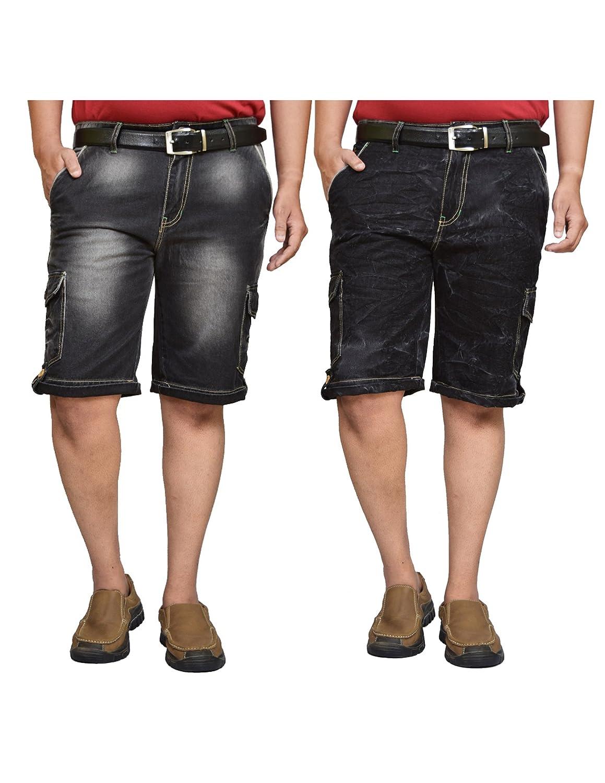 Buy British Terminal black Denim Shorts for Men | Shorts Combo for Men | Denim  Shorts Combo for Mens | Pack of 2 Shorts | denim cargo shorts 6 pockets |  half
