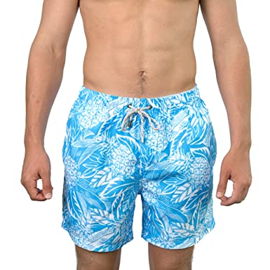 99815f2087bb3 Endless Summer The Men's Light Blue Tropical Pineapple Quick Dry Swim Trunks  Size Small