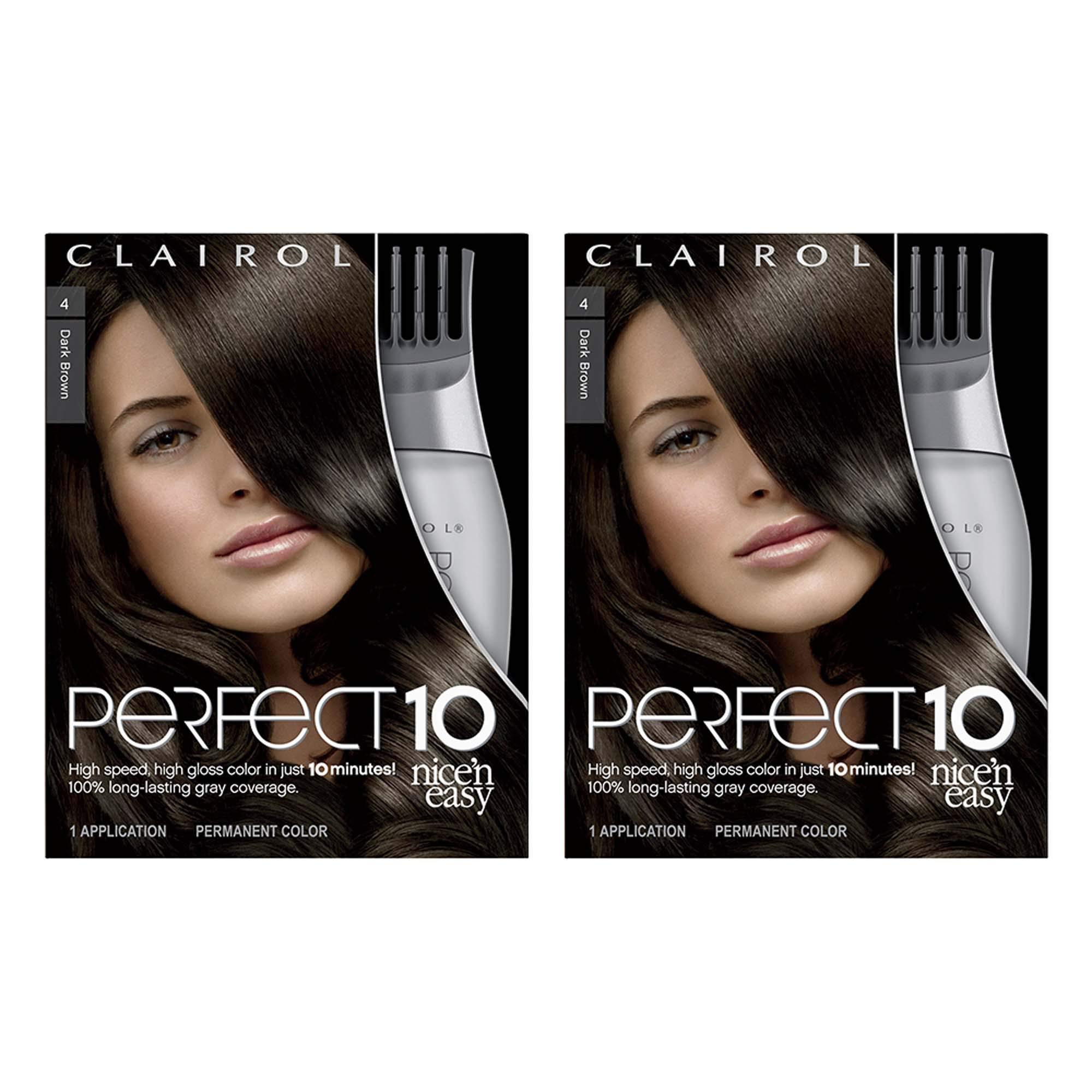 Clairol Perfect 10 By Nice 'N Easy Hair Color 004 Dark Brown 1 Kit (Pack of 2) (PACKAGING MAY VARY) by Clairol