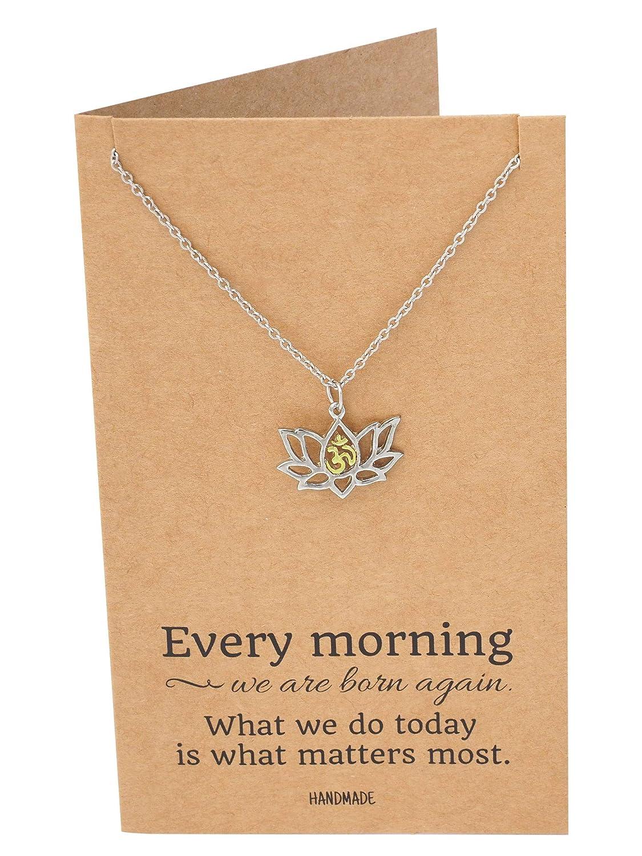 Amazon Quan Jewelry Lotus Flower Necklace With Om Symbol