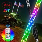 Nilight - TL-27 2PCS 4FT Spiral RGB Led Whip Light with Spring Base Chasing Light RF Remote Control Lighted Antenna Whips for