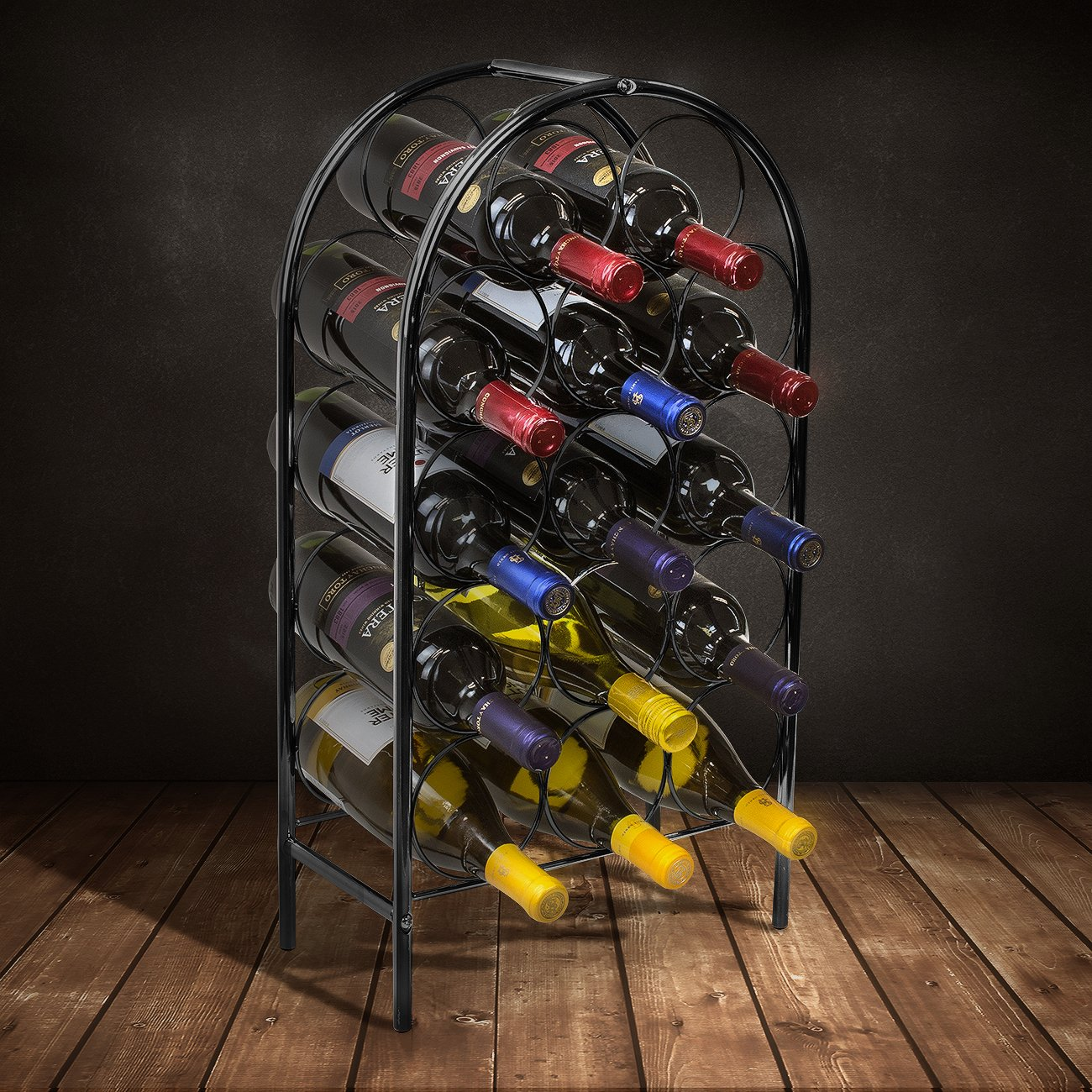 Sorbus Wine Rack Stand Bordeaux Chateau Style - Holds 14 Bottles of Your Favorite Wine - Elegant Storage for Kitchen, Dining Room, Bar, or Wine Cellar (14 Bottle - Black) by Sorbus (Image #2)