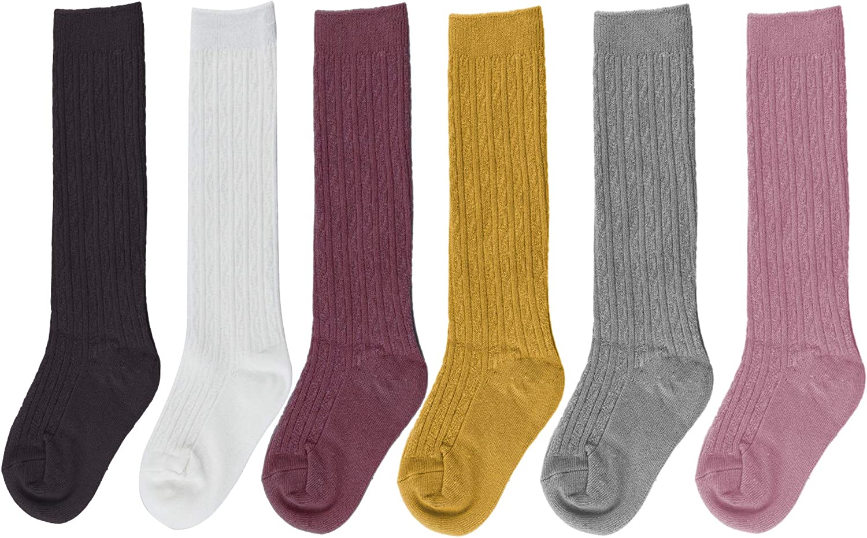 Bestjybt 6 Pairs Toddler Girls Boys Knee High Socks Little Girls Cable Knit Cotton Stockings: Clothing
