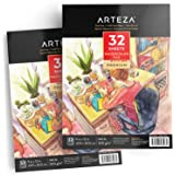 """ARTEZA 9x12"""" Watercolor Pad, Pack of 2, 64 Sheets (140lb/300gsm), 32 Sheets Each, Acid Free Cold Pressed Paper, Painting & Drawing Sketchbook, Perfect for Wet, Dry & Mixed Media"""