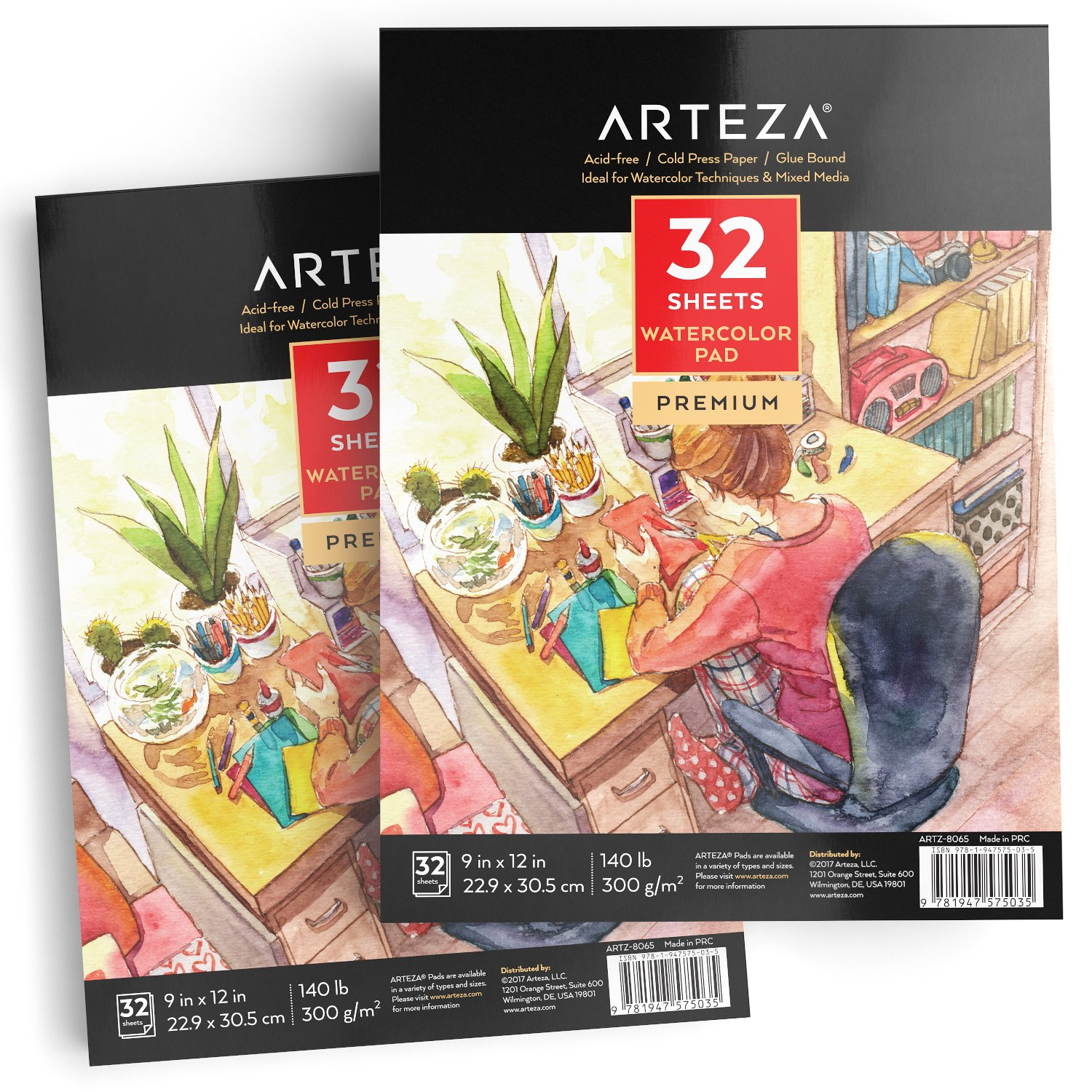 ARTEZA 9x12'' Watercolor Pad, Pack of 2, 64 Sheets (140lb/300gsm), 32 Sheets Each, Acid Free Cold Pressed Paper, Painting & Drawing Sketchbook, Perfect for Wet, Dry & Mixed Media by ARTEZA