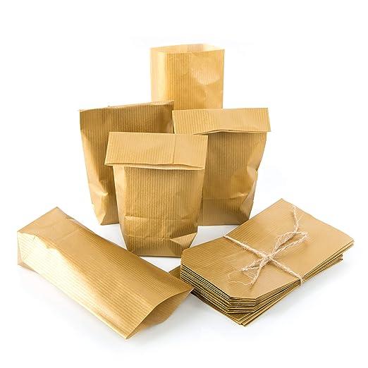 25 Bolsas de papel pequeñas Mini 9 x 15 x 3,5 Oro del ...