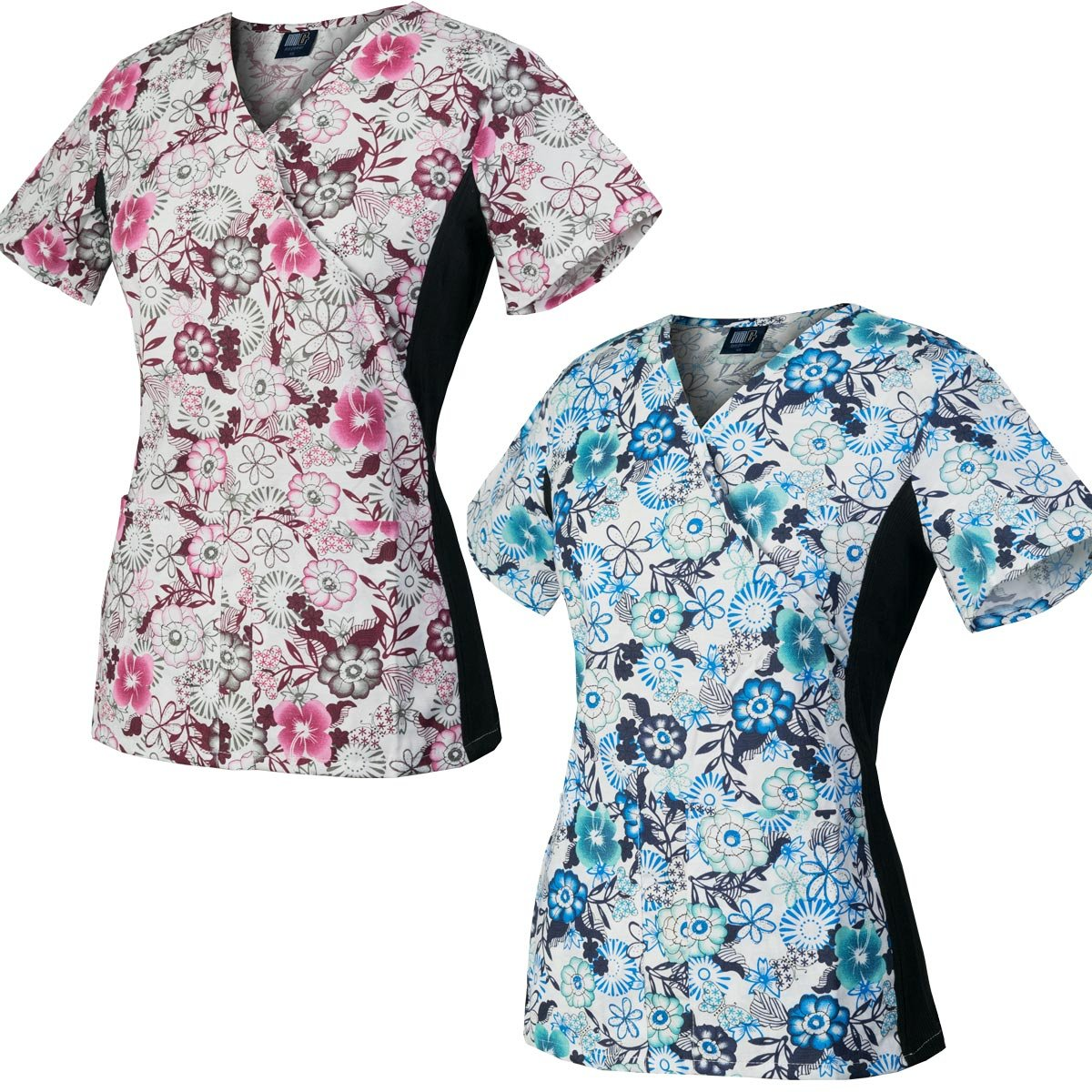 Medgear 2-Pack Slim Scrub Printed Tops with Knit Side Panels & 2 Pockets (L)