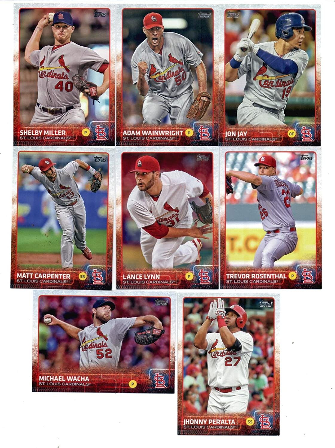 2015 Topps Baseball Cards St Louis Cardinals Team Set Series 1 8 Cards Including Jon Jay Michael Wacha Adam Wainwright Shelby Miller Lance