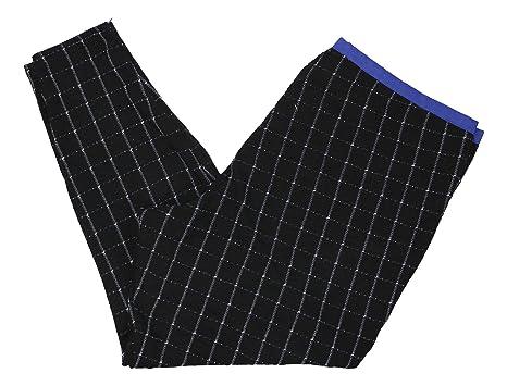 730fe4374225c9 HUE Plus Size Windowpane Loafer Skimmer Leggings (Black/Royal Blue, 3X)