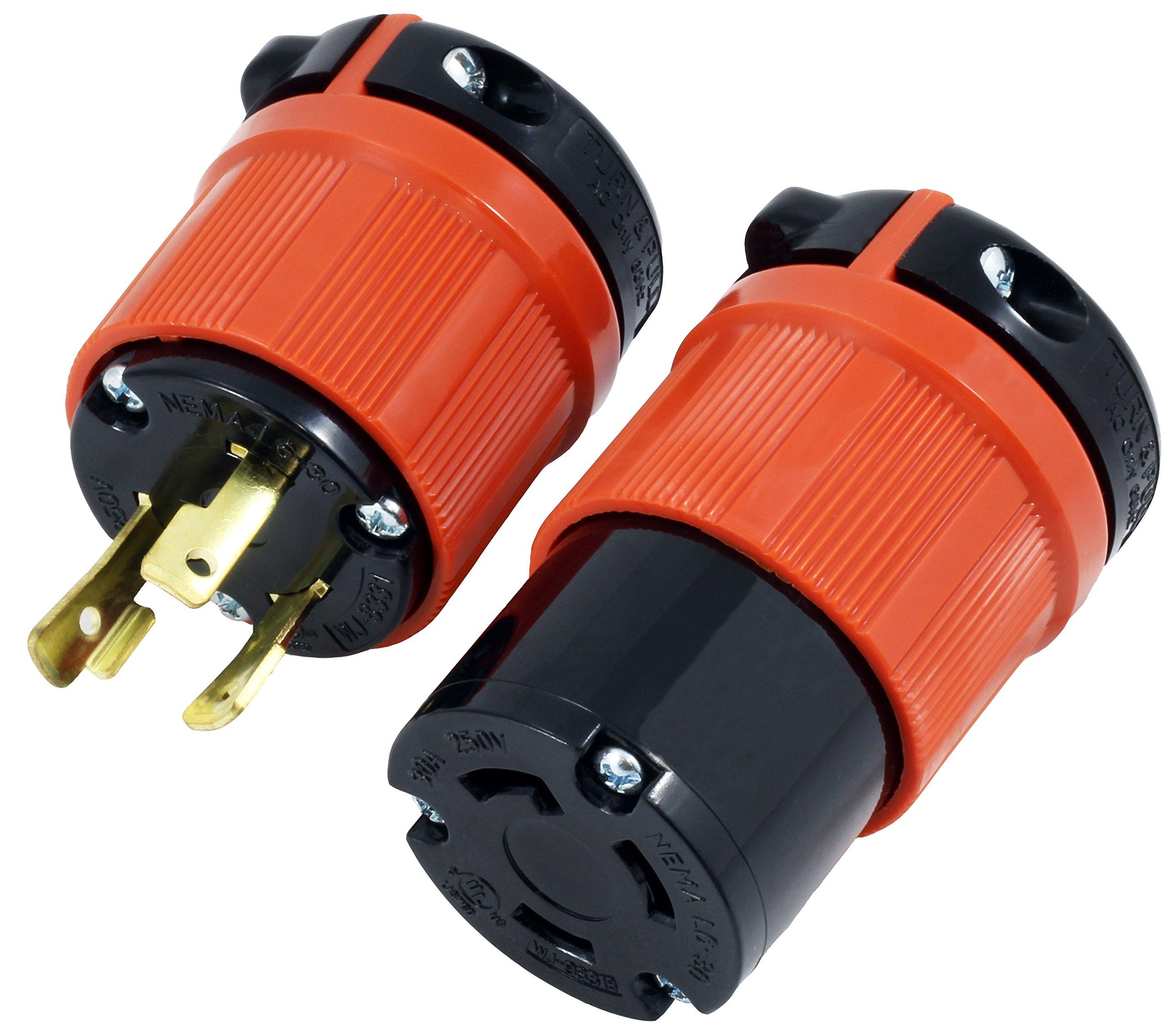 AC WORKS [ASL630PR] NEMA L6-30 30Amp 250Volt 3Prong Locking Male Plug and Female Connector UL, C-UL Approval