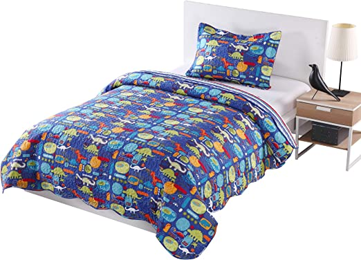 Blue Striped ocean home fashion twin quilt blue striped Twin Twin Size MarCielo 2 Piece Kids Bedspread Quilts Set Throw Blanket for Teens Boys Girls Bed Printed Bedding Coverlet
