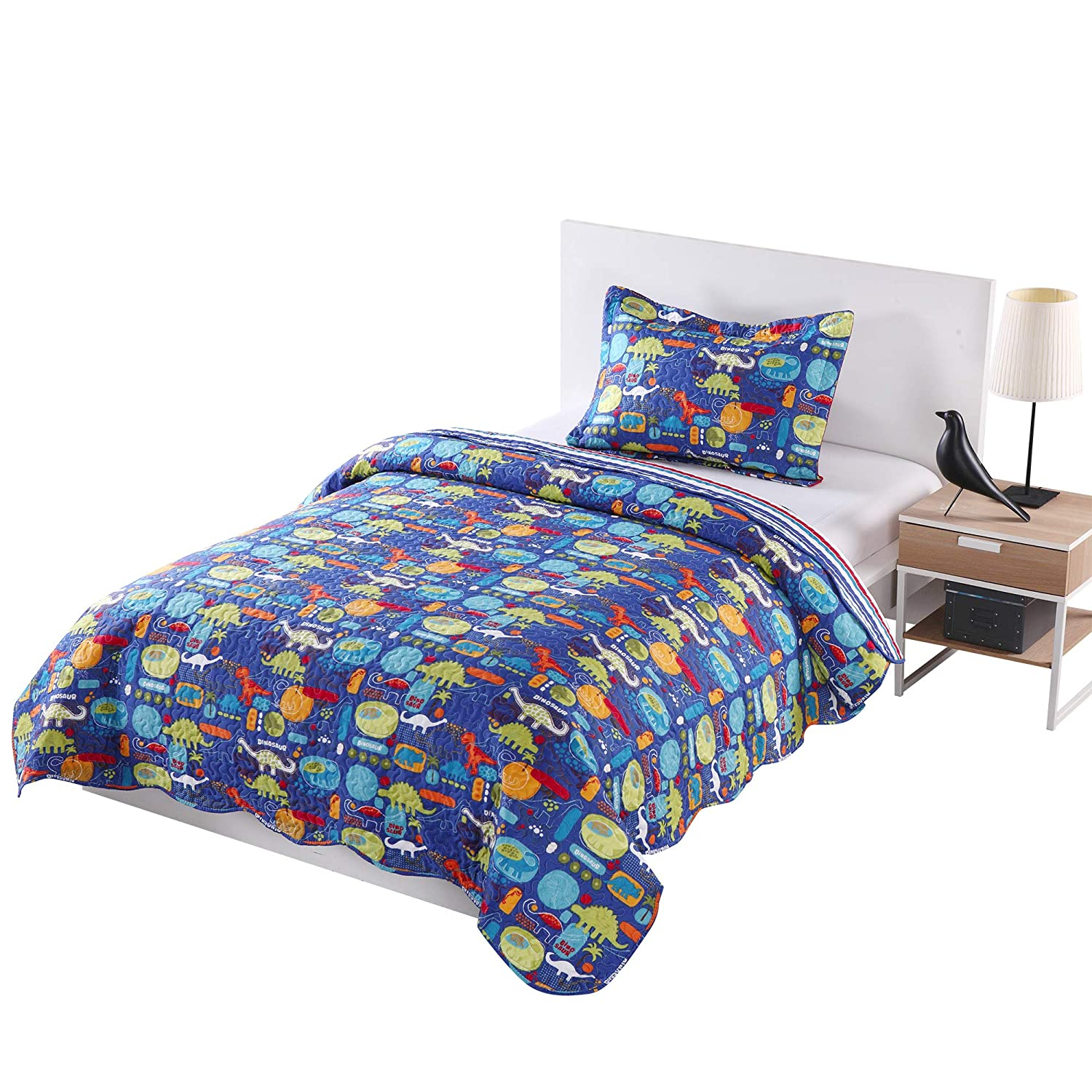 MarCielo 2 Piece Kids Bedspread Quilts Set Throw Blanket for Teens Boys Girls Bed Printed Bedding Coverlet, Twin Size, Dinosaur (Twin) ocean home fashion Quilt dinosaur TWIN