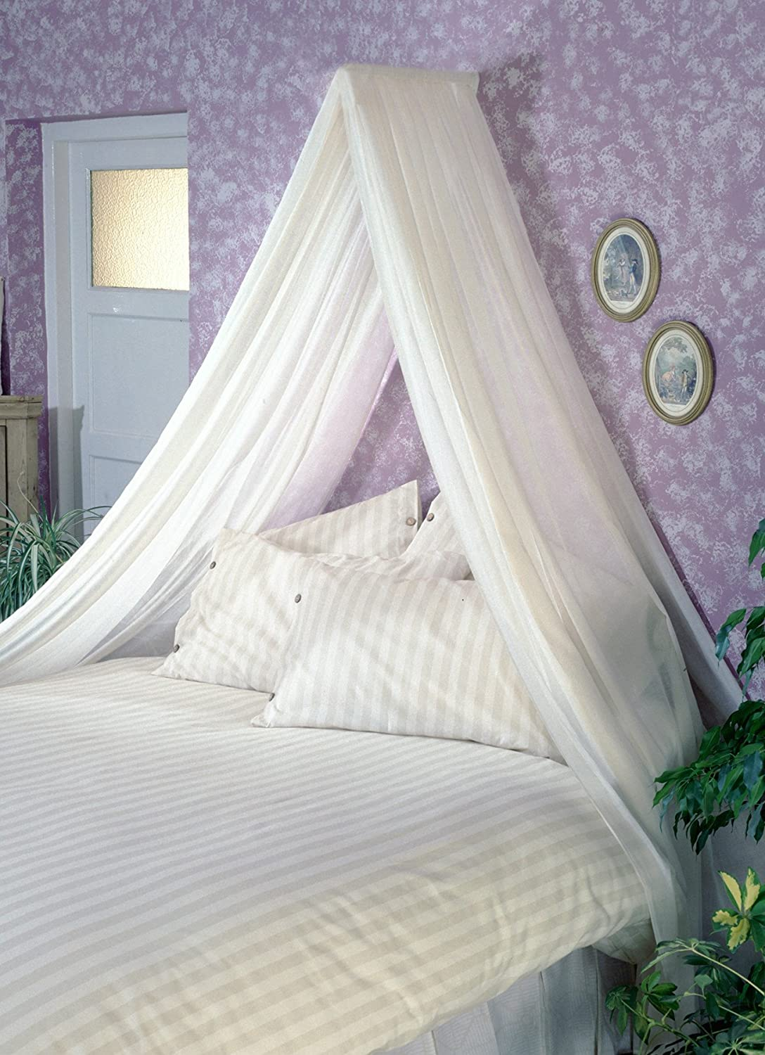 CREAM BED CANOPY SET Soft Sheer Pale Cream VOILE Rod Fixing Kit COMPLETE EASY FIX Amazoncouk Kitchen Home
