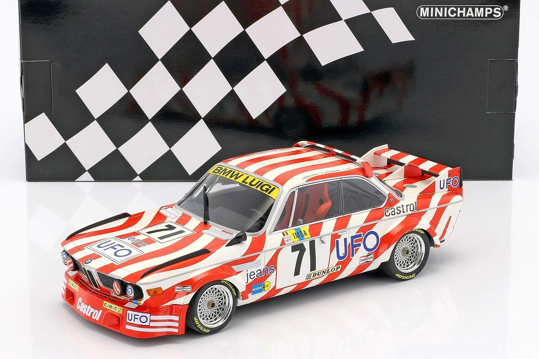 Minichamps 155772571 BMW 3.0 CSL – 24H de Le Mans 1977 – Escala 1/18, Color Blanco/Rojo