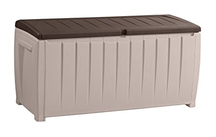 Superbe Keter Novel Plastic Deck Storage Container Box Outdoor Patio Furniture 90  Gal, Brown