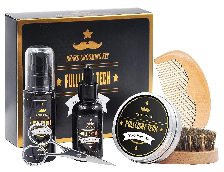 Beard Kit for Men/Dad/Husband Beard Growth Grooming Gift Sets W/ Beard Oil, Beard Balm Leave-in Conditioner, Beard Wash/Shampoo, Beard & Mustache Comb + Brush + Scissors 100% Organic for Beard Care (6 Piece Set) FULLLIGHT TECH