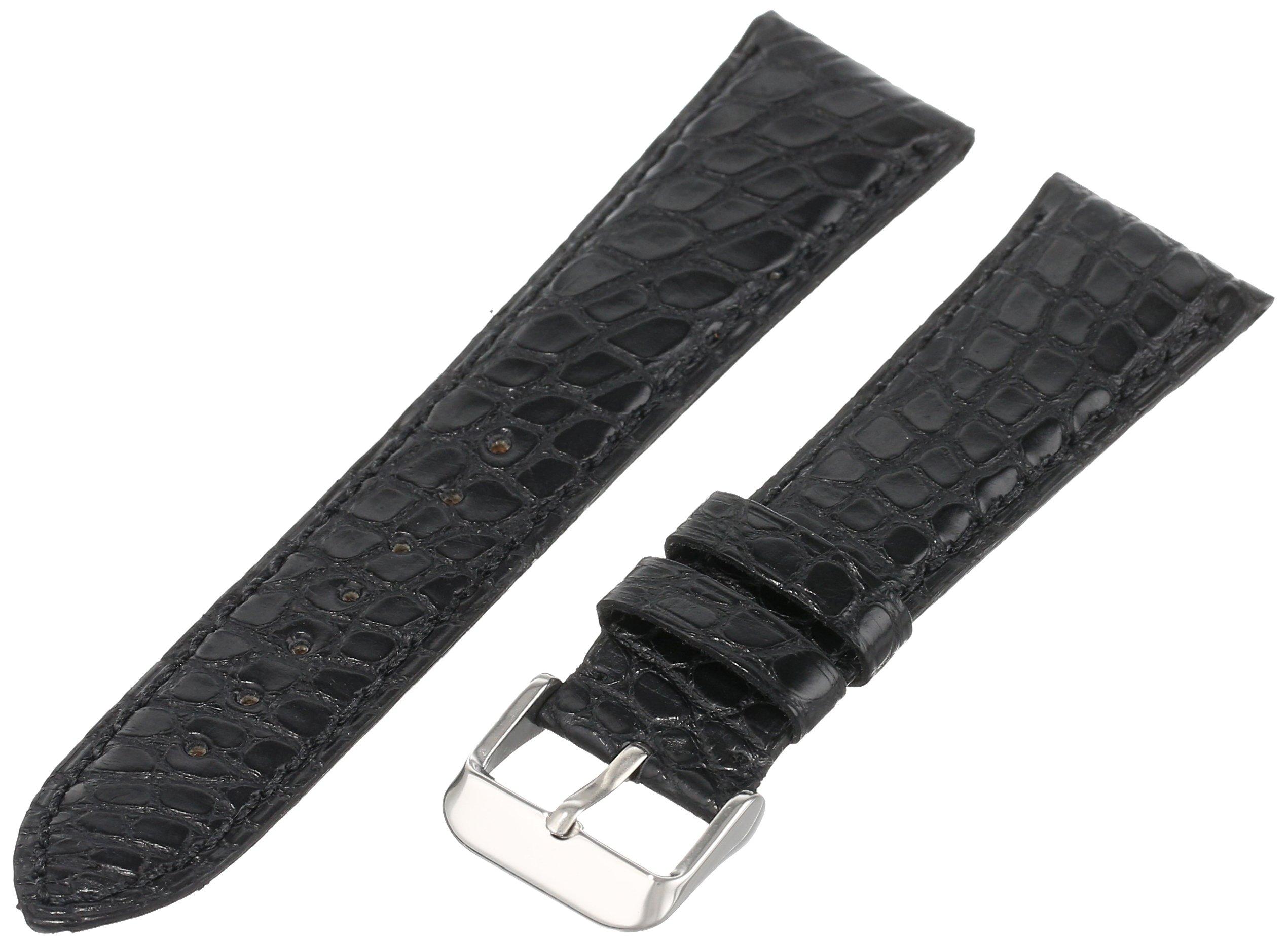 Hadley-Roma Men's MS2010RA-240 24-mm Black Genuine Alligator Leather WatchStrap