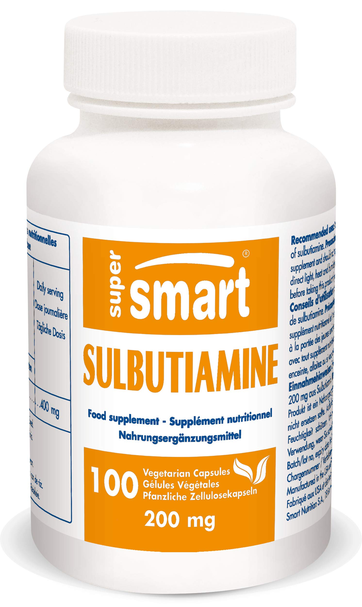 Supersmart - Sulbutiamine 200 mg - Nootropic Supplement - Boost Physical Energy, Memory, Focus, Learning and Concentration | Non-GMO - 100 Vegetarian Capsules by SUPERSMART