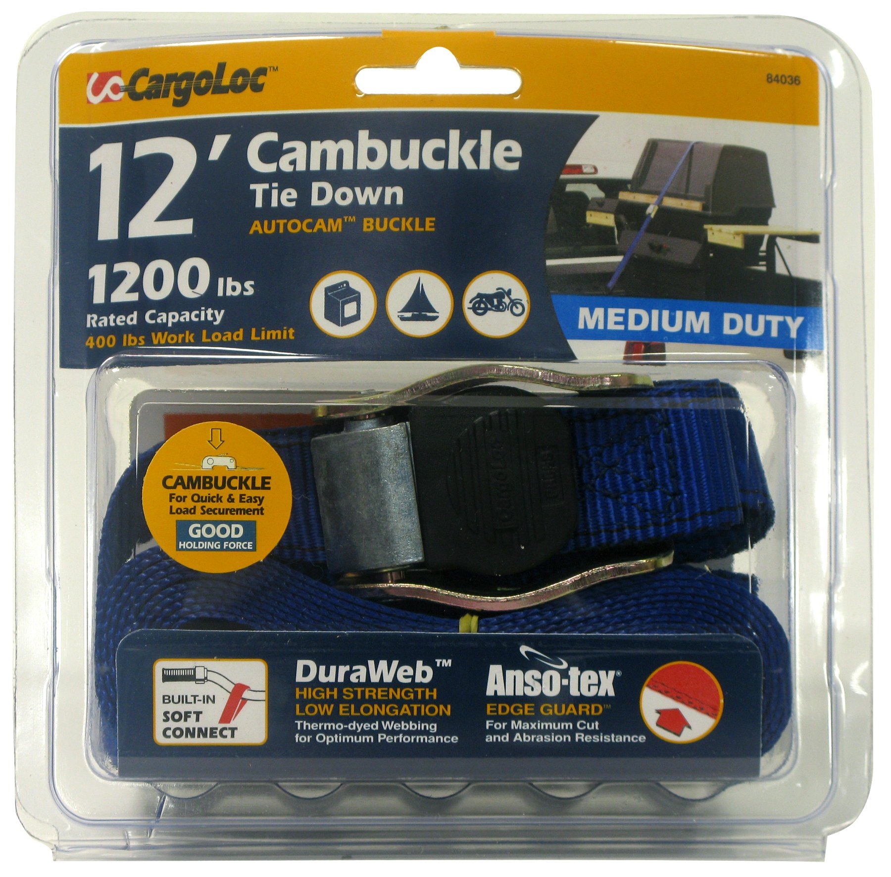 CargoLoc 84036 Cambuckle Tie Downs with S-Hooks, 1-Inch x 12-Inch