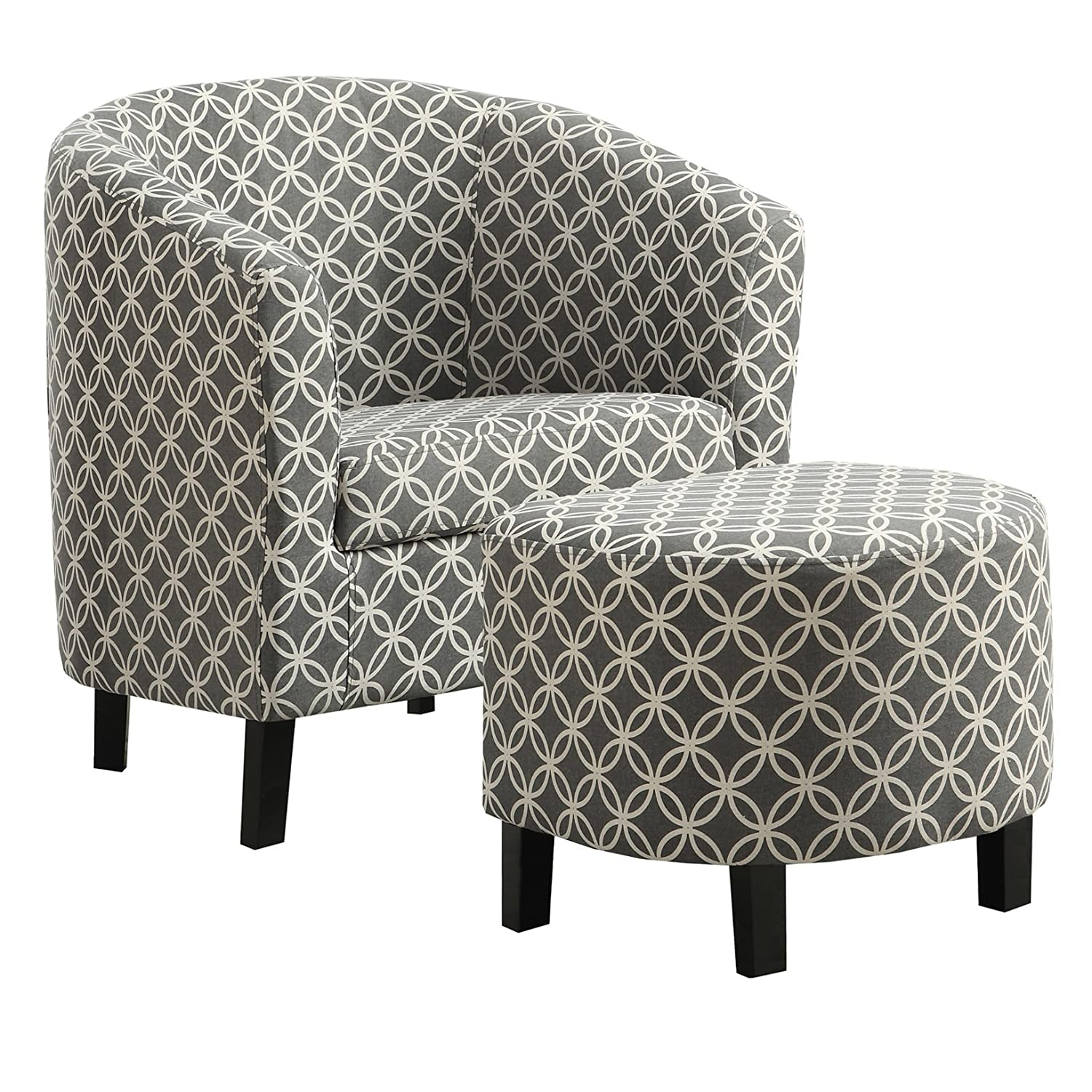 Monarch Specialties I 8060 GreyCircular Fabric Accent Chair and Ottoman, 30 30