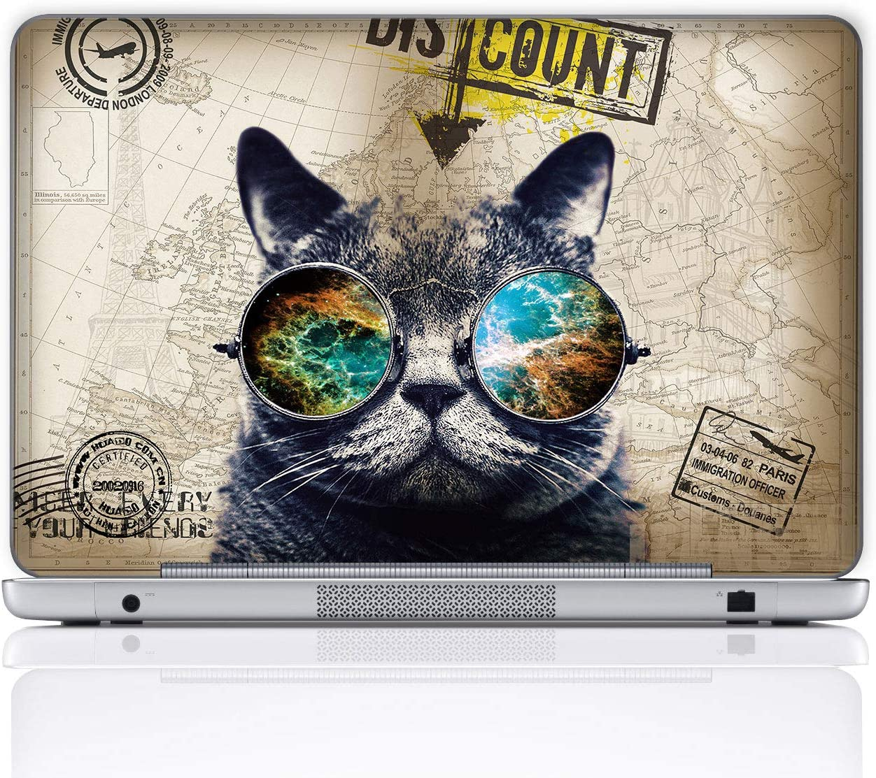 Meffort Inc 15 15.6 Inch Laptop Notebook Skin Sticker Cover Art Decal (Included 2 Wrist pad) - Cool Cat
