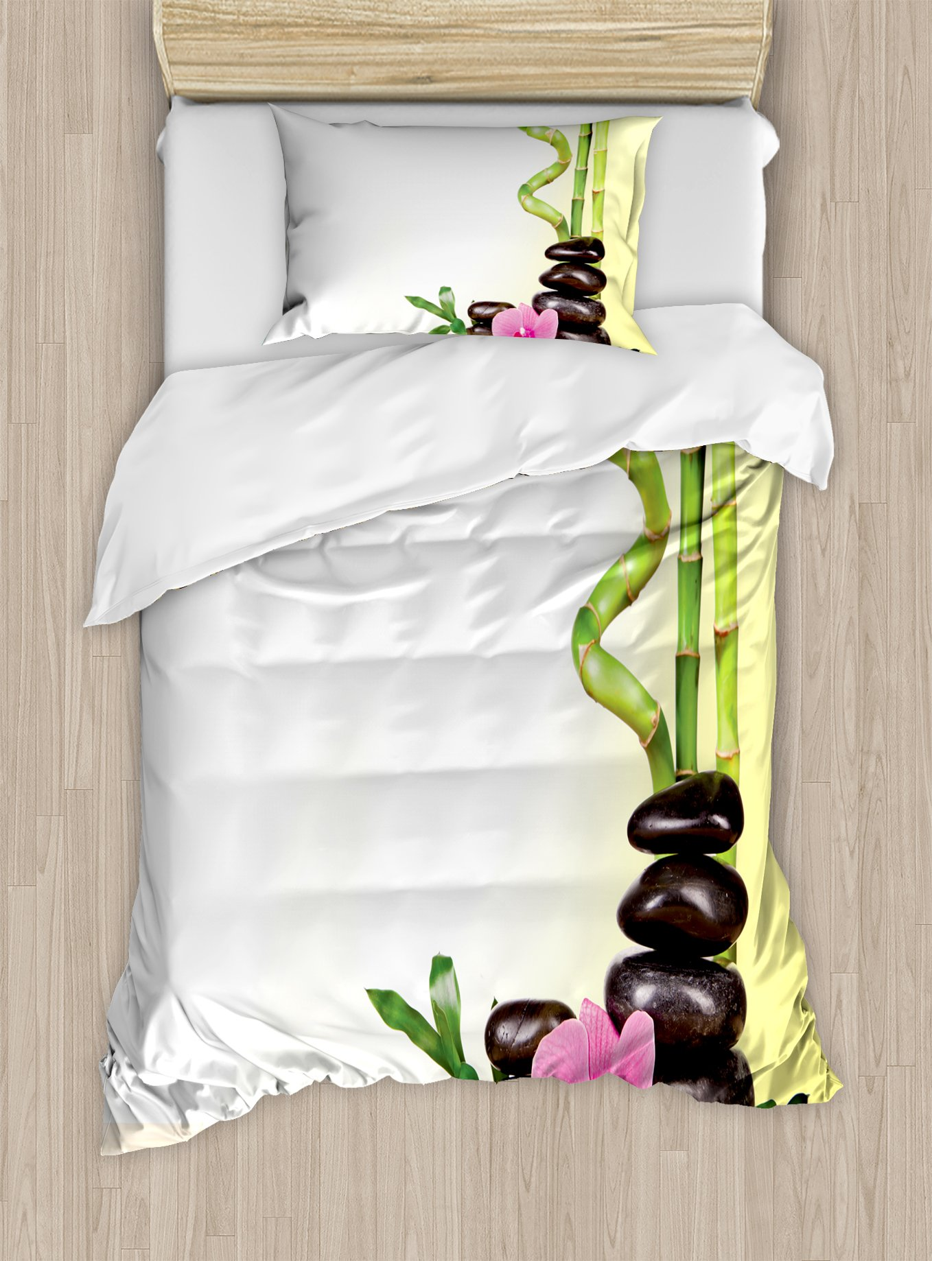 Ambesonne Spa Duvet Cover Set Twin Size, Calm Life Theme with Relax Symbol Bamboo Sprouts and Rocks Asian Meditative Zen Concept, Decorative 2 Piece Bedding Set with 1 Pillow Sham, Multicolor