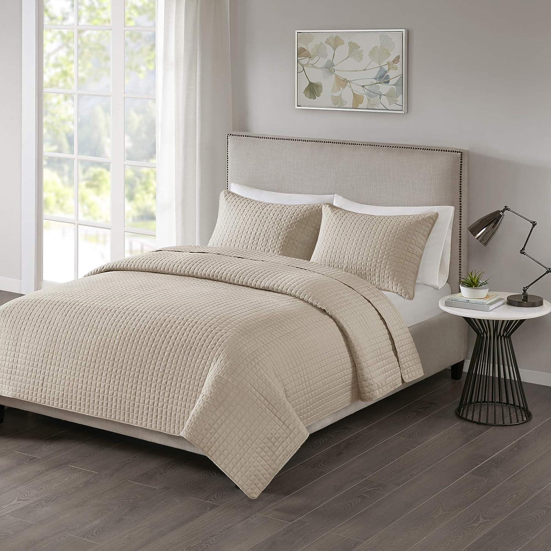 510 DESIGN Otto 3 Piece Soft Reversible Quilt Set Coverlet Bedding, Full/Queen, Khaki