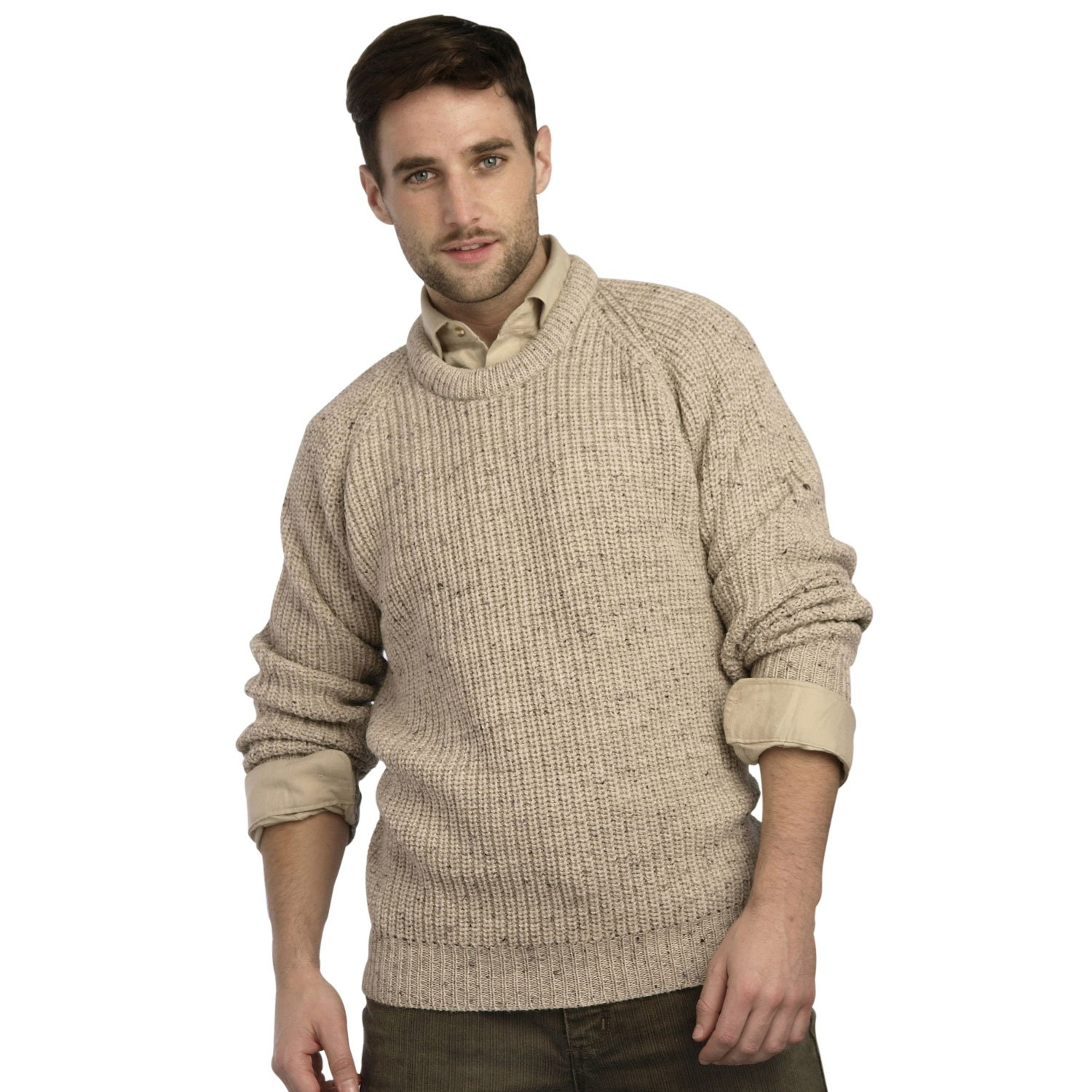 100% Pure Irish Wool Fishermans Rib Crew Neck Sweater by West End Knitwear