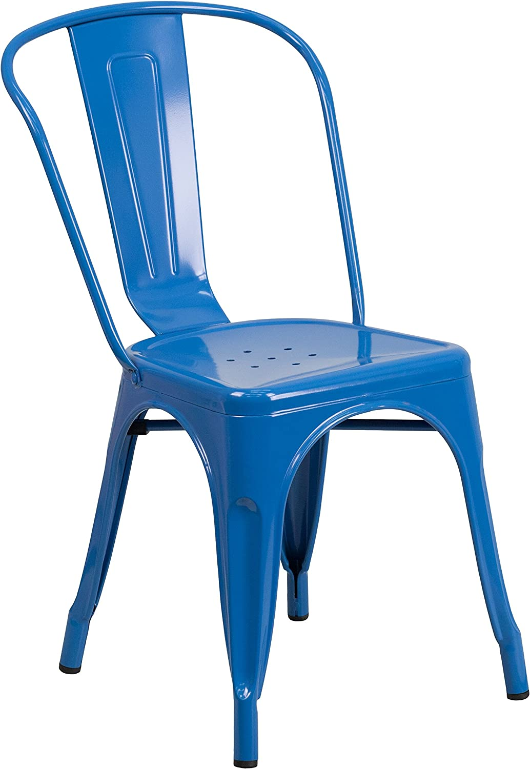 Flash Furniture Commercial Grade Blue Metal Indoor-Outdoor Stackable Chair