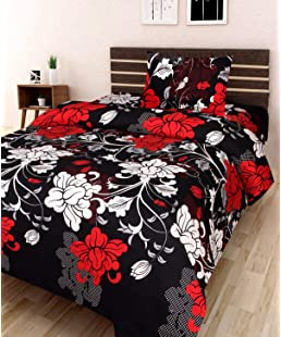 Mayur7Star Microfiber 3D Glace Cotton Single Bedsheet with 1 Pillow Cover, Size- 90 X 60 Inch, 104TC, 3D Printed Pattern