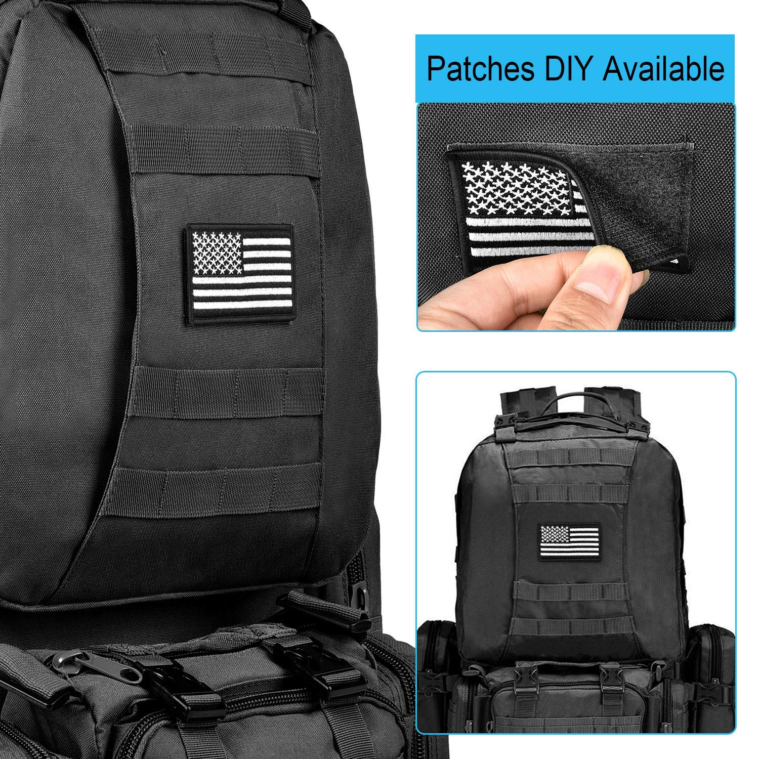 CVLIFE Tactical Military Backpack 60L Built-up Army Rucksacks Outdoor 3 Day Assault Pack Combat Molle Backpack for Hunting Hiking Fishing with Flag Patch Black by CVLIFE (Image #4)