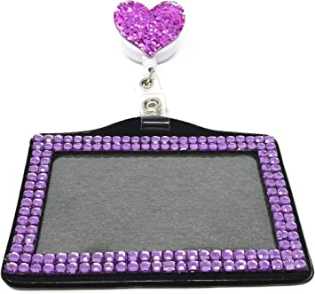 2 in 1 Glitter Heart Retractable Reel swivel Clip with Vertical ID badge holder