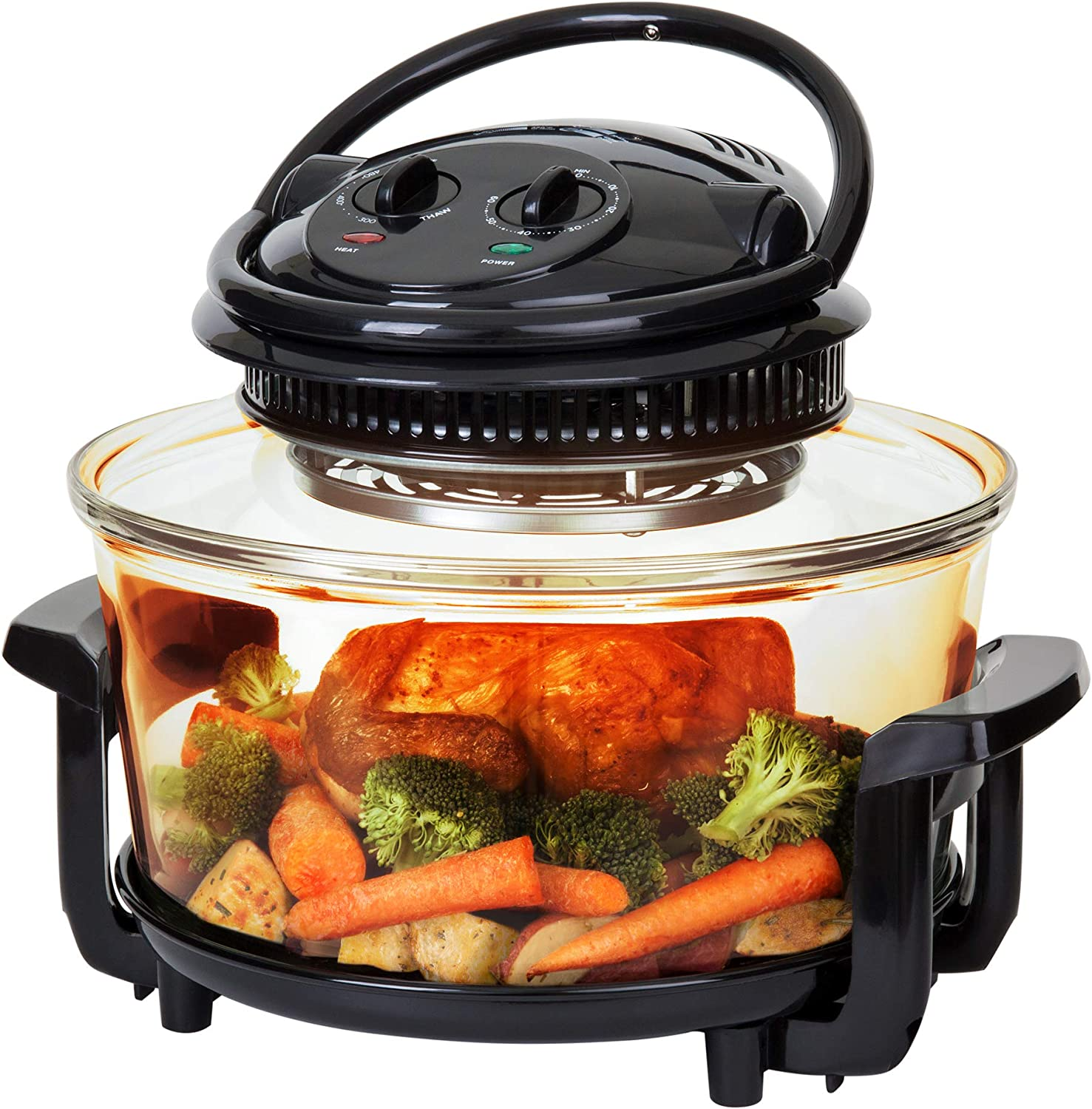 Best Choice Products 12L Electric Convection Glass Halogen Oven for Baking, Roasting, Steaming, Grilling w Air Fryer Capabilities, Temperature and Time Dials, Automatic Shutoff, 2 Wire Racks, Tongs