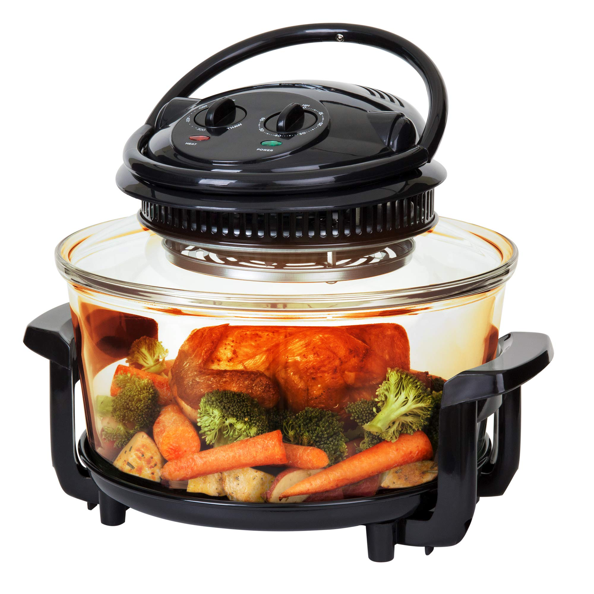 Best Choice Products 12L Electric Convection Glass Halogen Oven for Baking, Roasting, Steaming, Grilling with Air Fryer Capabilities, Temperature and Time Dials, Automatic Shutoff, 2 Wire Racks, Tongs