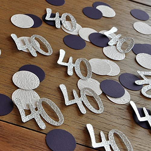 Amazon Glitter Silver 40th Birthday Decoration 40 Number Confetti In And Plum 2 Packs 50ct Each Handmade