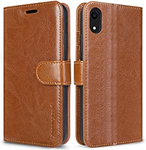 """JISONCASE Leather Wallet Case for iPhone XR, Flip Genuine Leather Cover with Kickstand, Cash Slot, Magnetic Closure and Wireless Charger for iPhone XR, 6.1"""", Brown"""