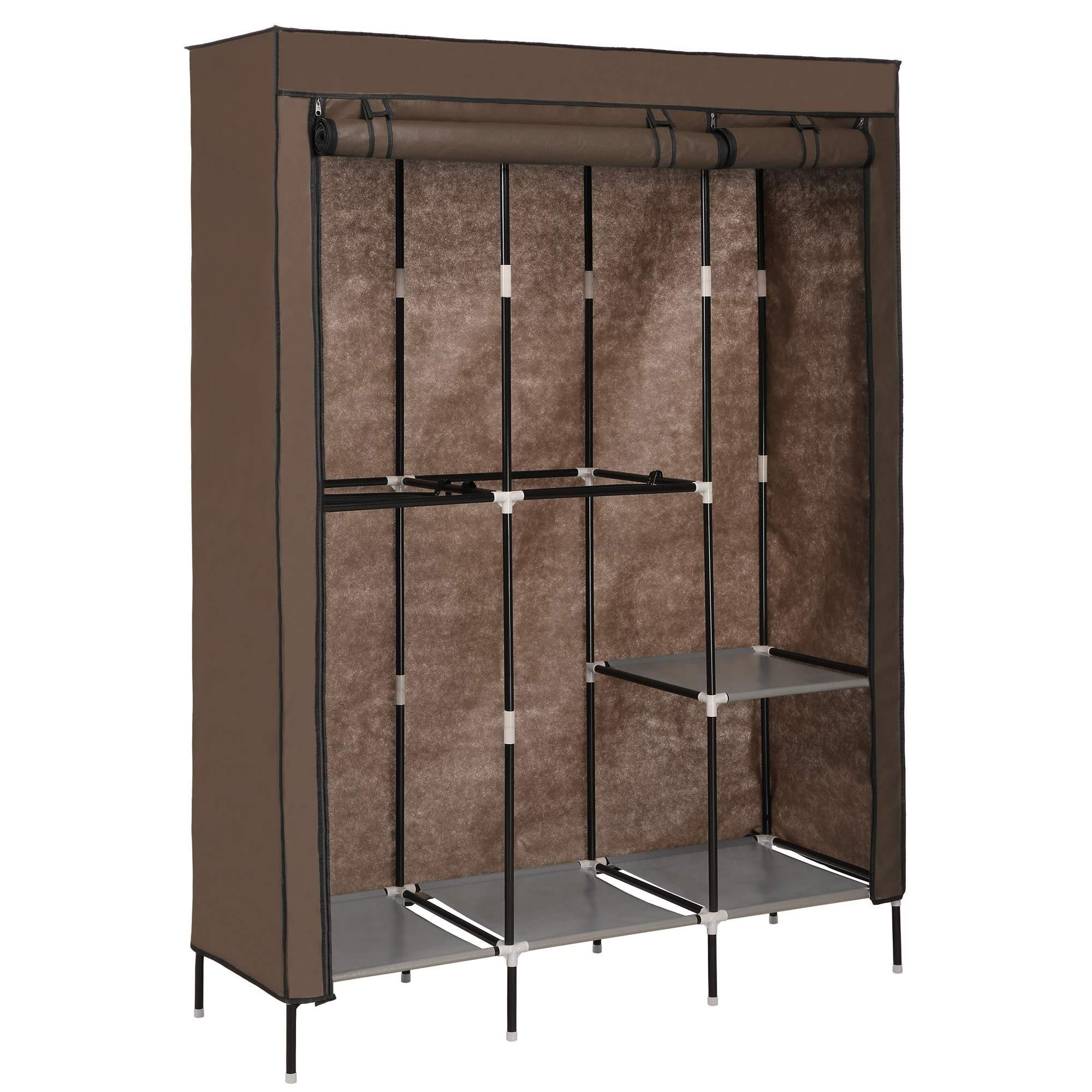 Pagacat Portable Wardrobe Closet, Fabric Clothes Armoire Storage Organizer with Rod and Shelves[US Stock] (Coffee)