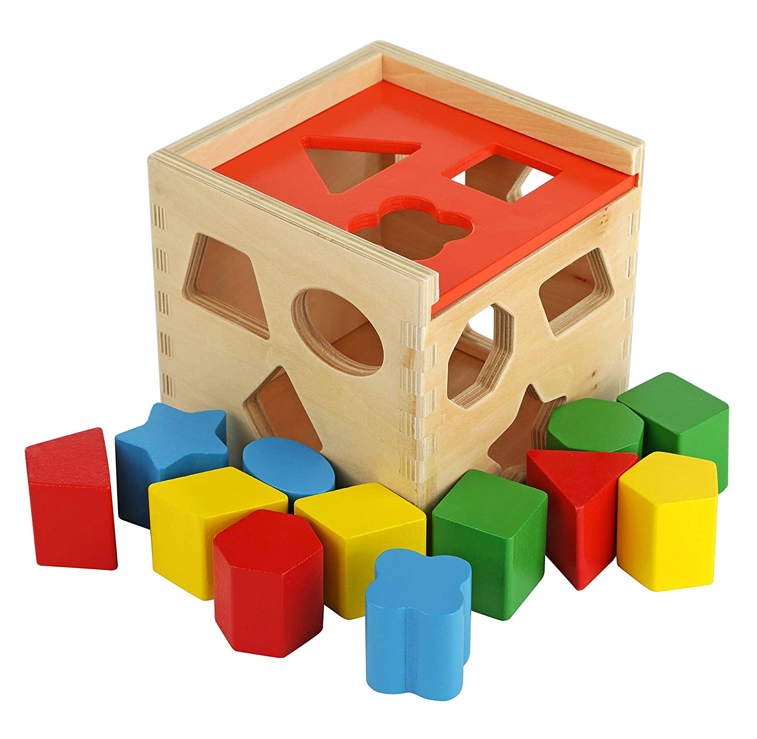 2 Years and Up Colorful Shape Cube Sorting Puzzle Solid Wood Toy with 12 Shapes Classic Early Development Shape Recognition Toy Toy Chest Nyc Educational Baby Toy for Toddler Boys and Girls Age 18-24 Months