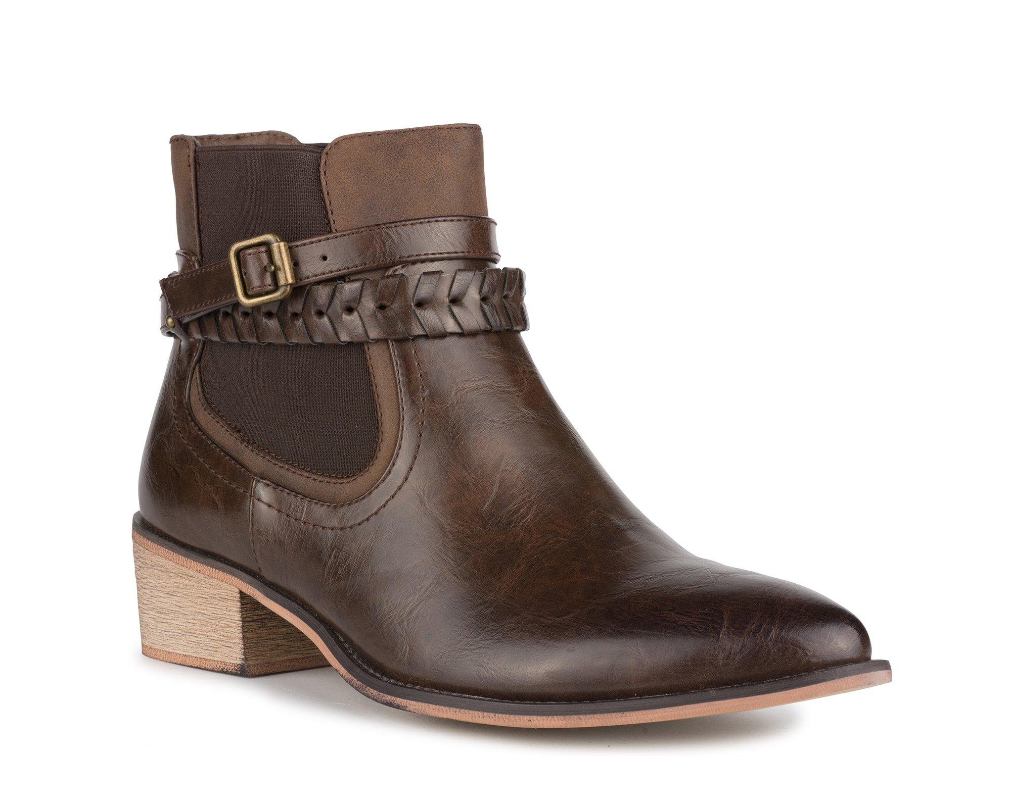 Twisted Women's Harper Western Chelsea Ankle Boot- HARPER01 Dark Brown, Size 8