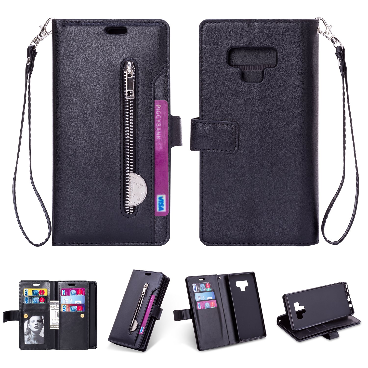 Sammid Galaxy Note 9 Wallet Case, Hand Strap PU Leather Protective Case Cover with Card Slots and Stand Function for Galaxy Note 9 - Black