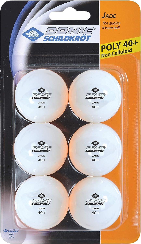 Donic-Schildkröt Pelotas de Tenis de Mesa Jade, Calidad Poly 40+, Paquete con 6 unidades