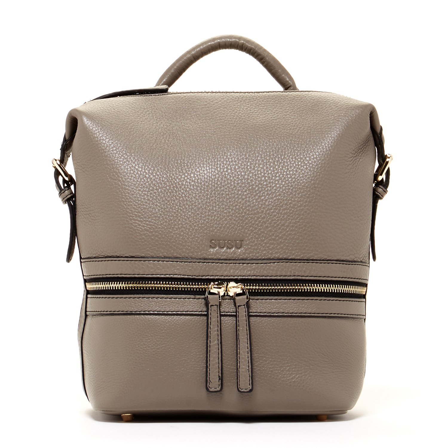 SUSU Genuine Leather Backpack for Women Elephant Grey Backpacks For Women Gray Stylish Backpack Purse Designer Handbags Pebbled Genuine Leather Fashionable Bags with Light Gold Front Zipper Pockets