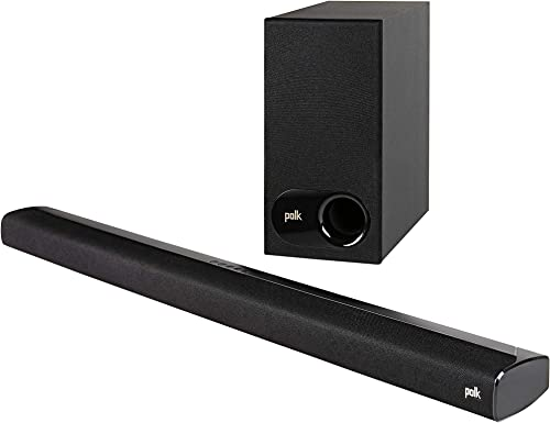 Polk Audio Signa S2 Ultra-Slim TV Sound Bar Works with 4K HD TVs Wireless Subwoofer Includes HDMI Optical Cables Bluetooth Enabled, Black