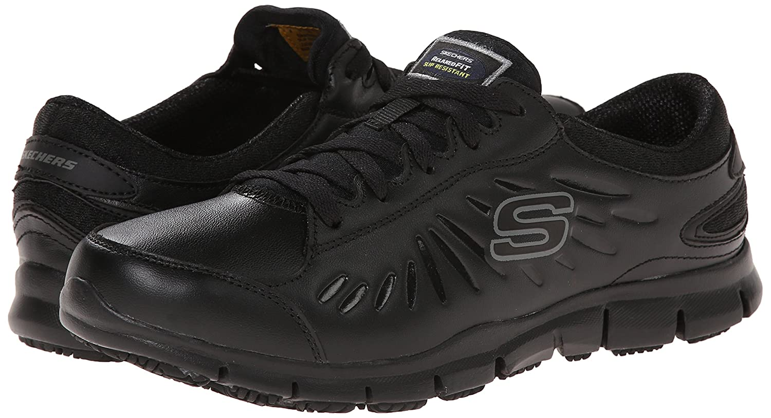 Skechers for B00GM46UYI Work Women's Eldred Slip Resistant Shoe B00GM46UYI for 7.5 B(M) US|Black 548826