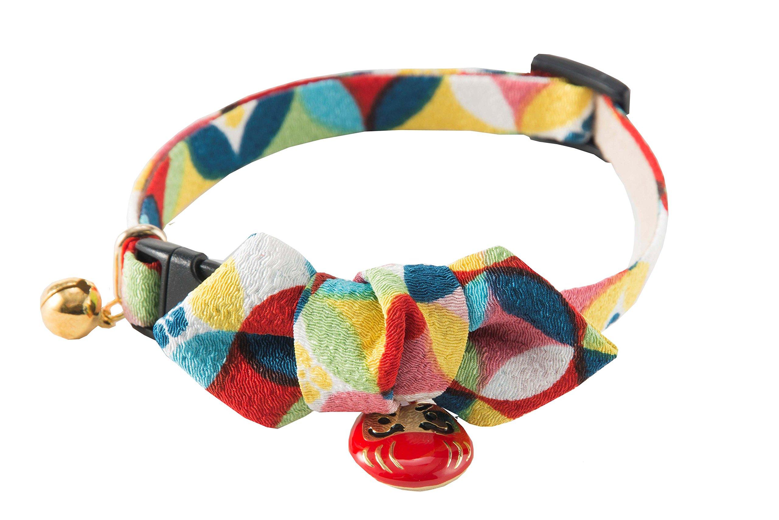 Necoichi Daruma Charm Bow Tie Cat Collar (Red)